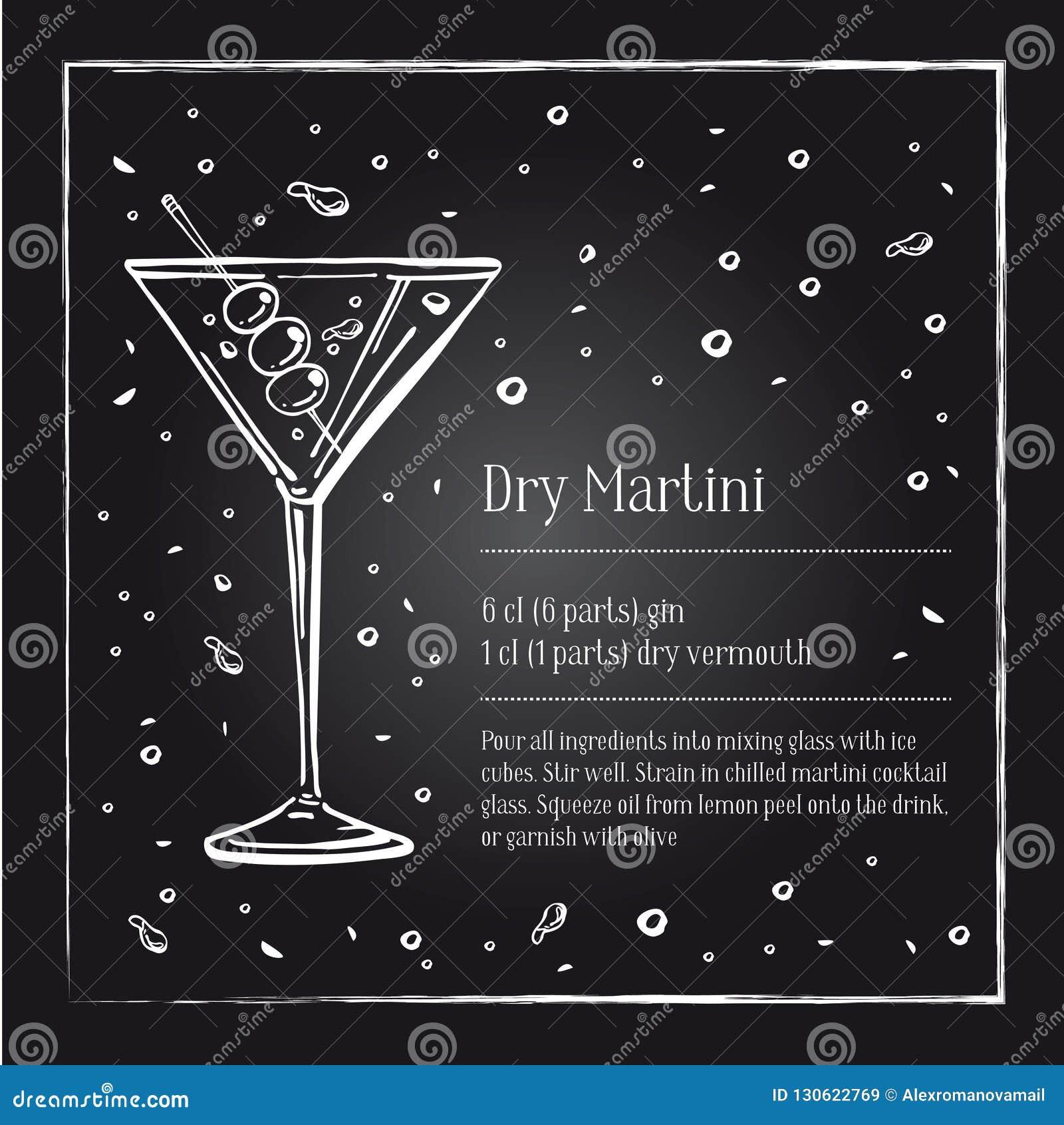 Descrizione asciutta di ricetta del cocktail di Martini con gli ingredienti Illustrazione disegnata a mano del profilo di schizzo