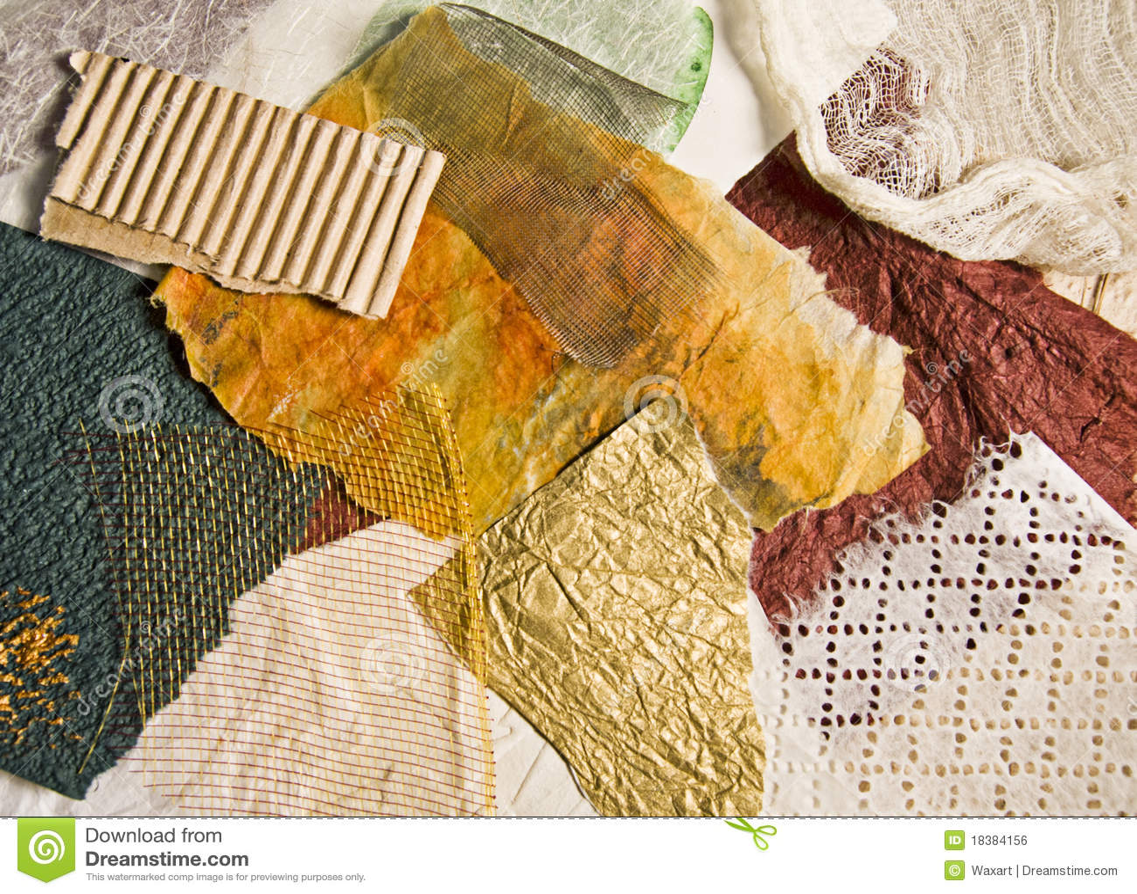 Desechos del papel y de la tela pintados foto de archivo - Papel y telas ...