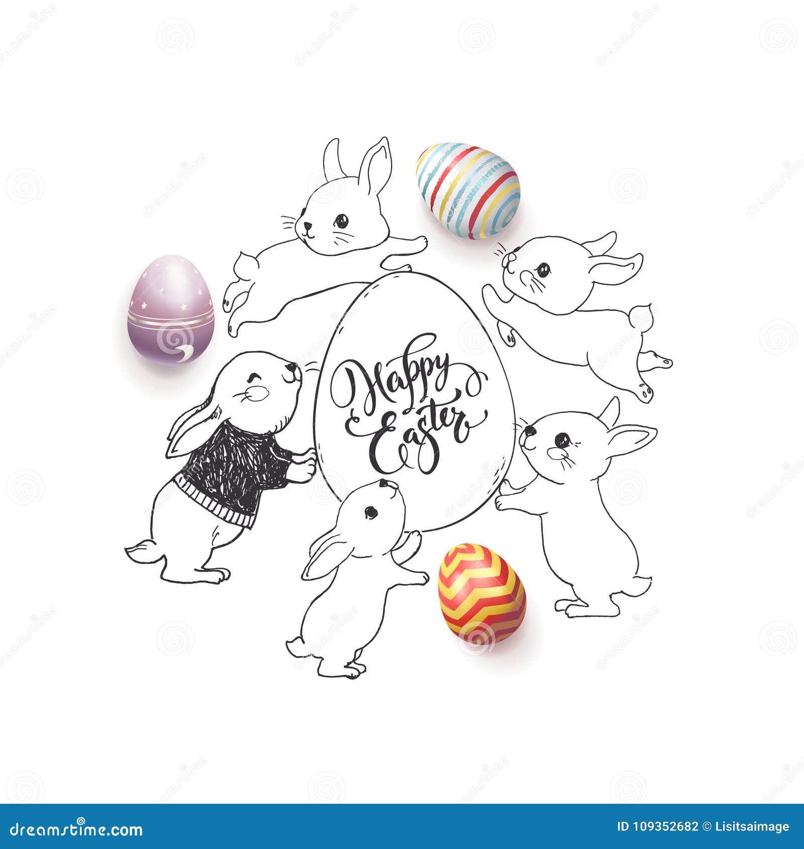Desejo feliz tirado mão da Páscoa escrito à mão com fonte caligráfica, os ovos decorados coloridos e coelhos bonitos em torno del