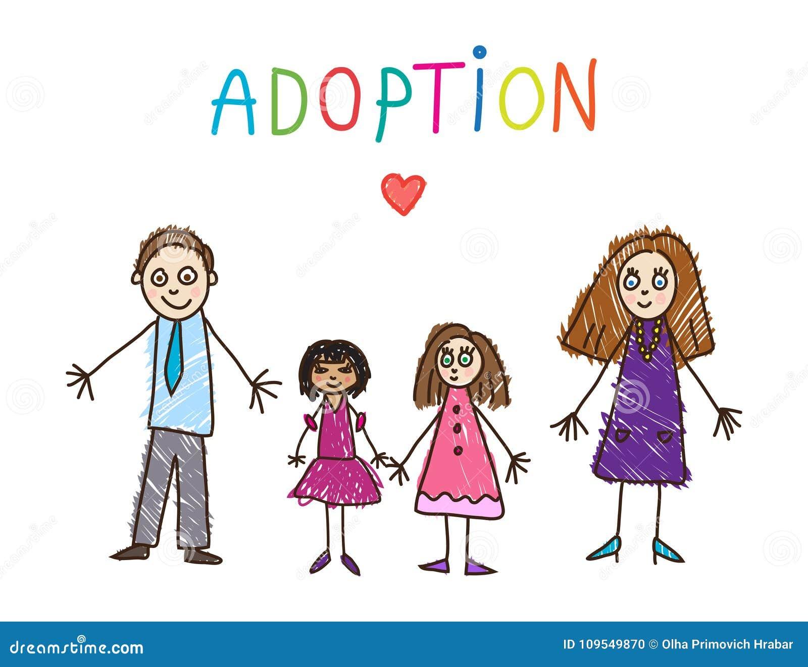 Desenhar dos miúdos família adotiva Ilustração do vetor