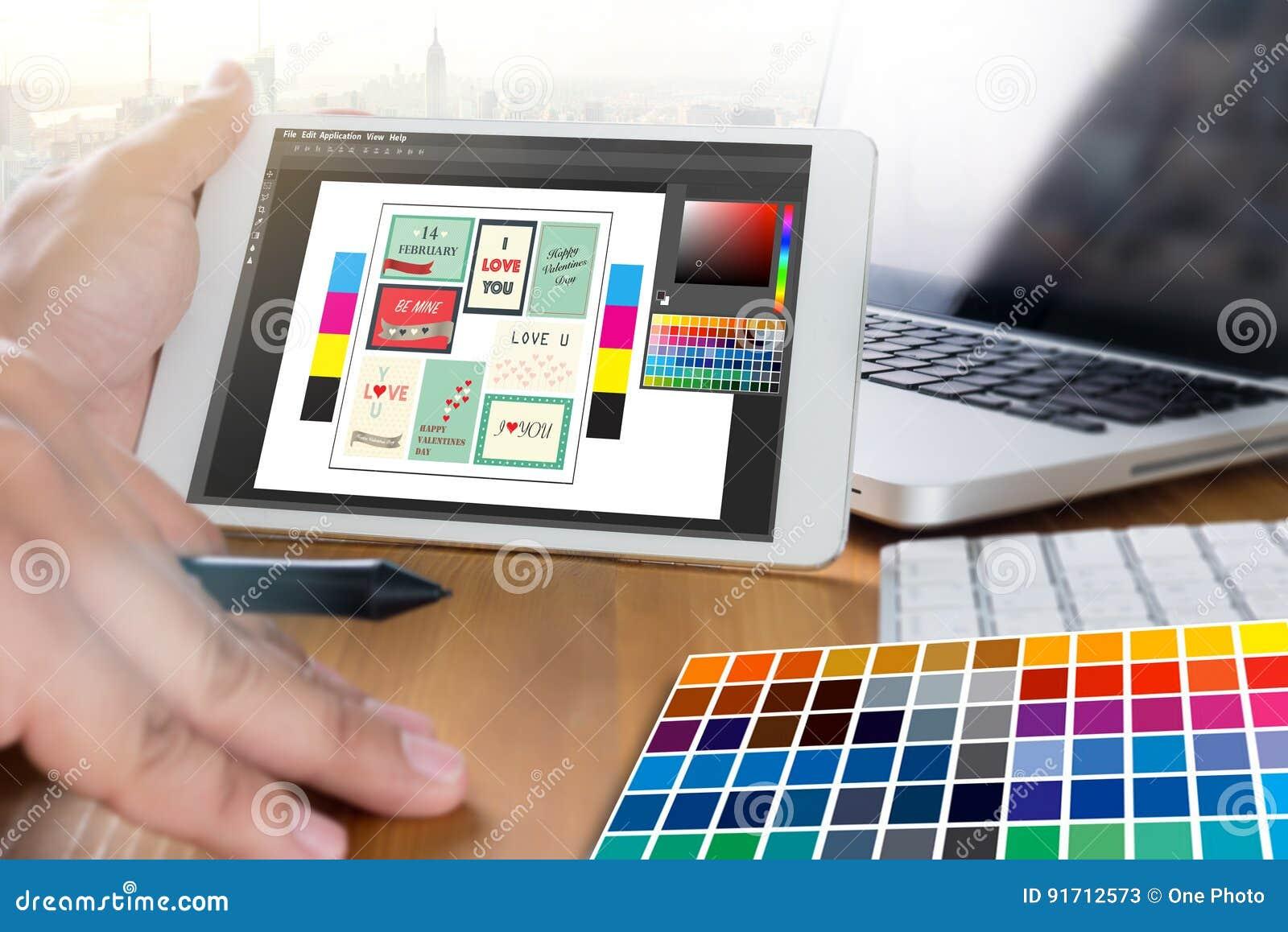 Desenhista criativo Graphic no trabalho Amostras da amostra de folha da cor, Illustr