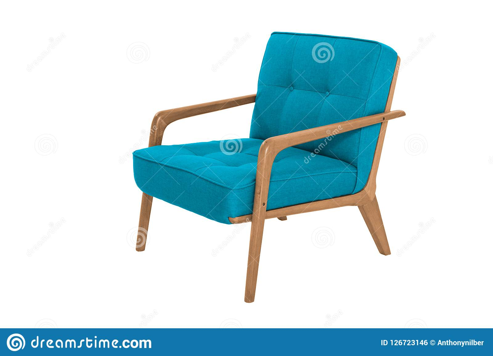 Desenhista moderno ciano da poltrona da tela e da madeira