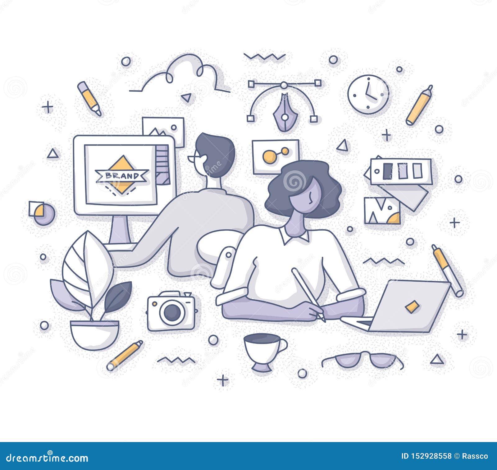 Desenhistas no conceito do trabalho