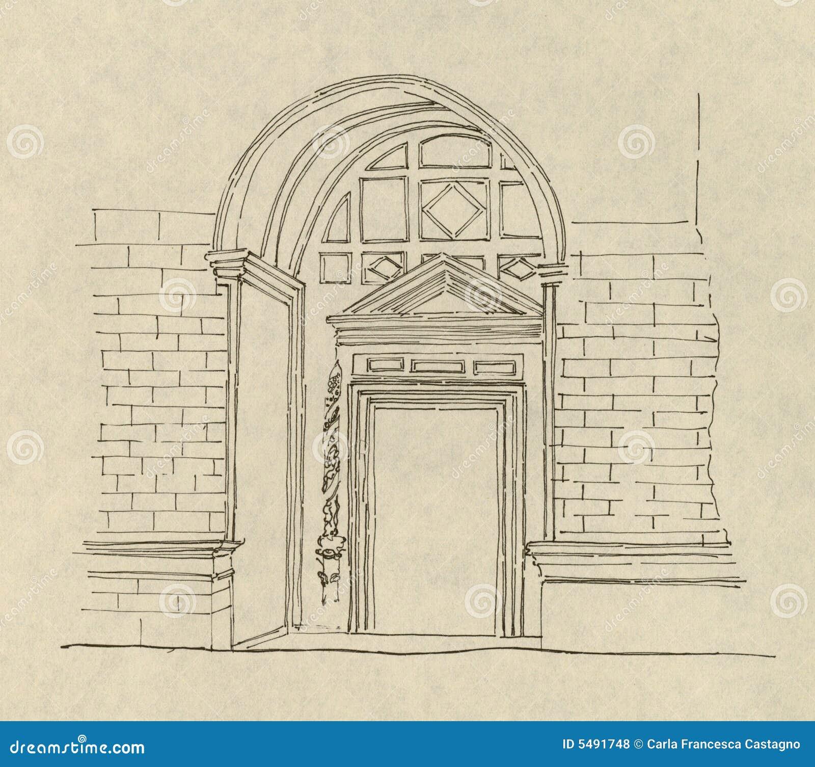 Desenho Antigo Da Entrada Ilustracao Do Vetor Ilustracao De