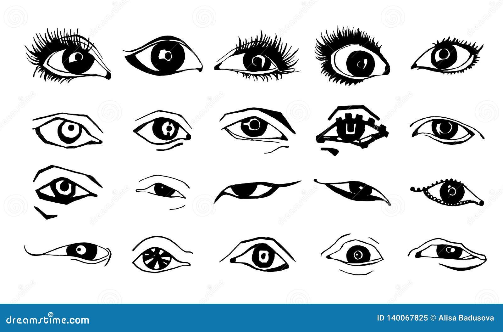 Desenho Bonito Da Tinta Do Vetor Dos Olhos Da Mulher Ilustracao