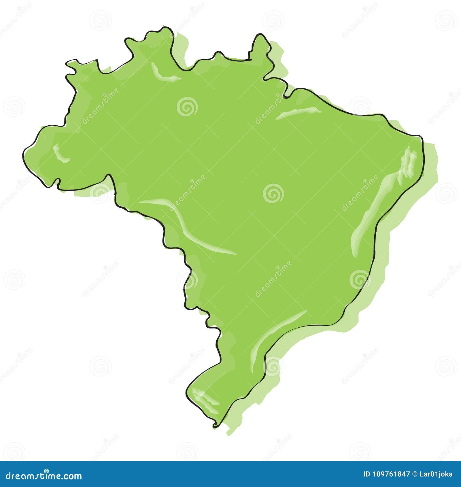 Desenho Comico De Um Mapa De Brasil Ilustracao Do Vetor