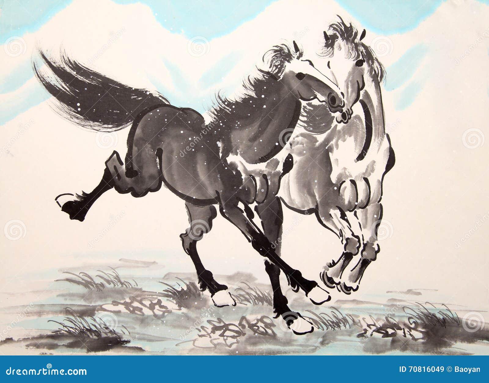 Desenho chinês do cavalo da tinta