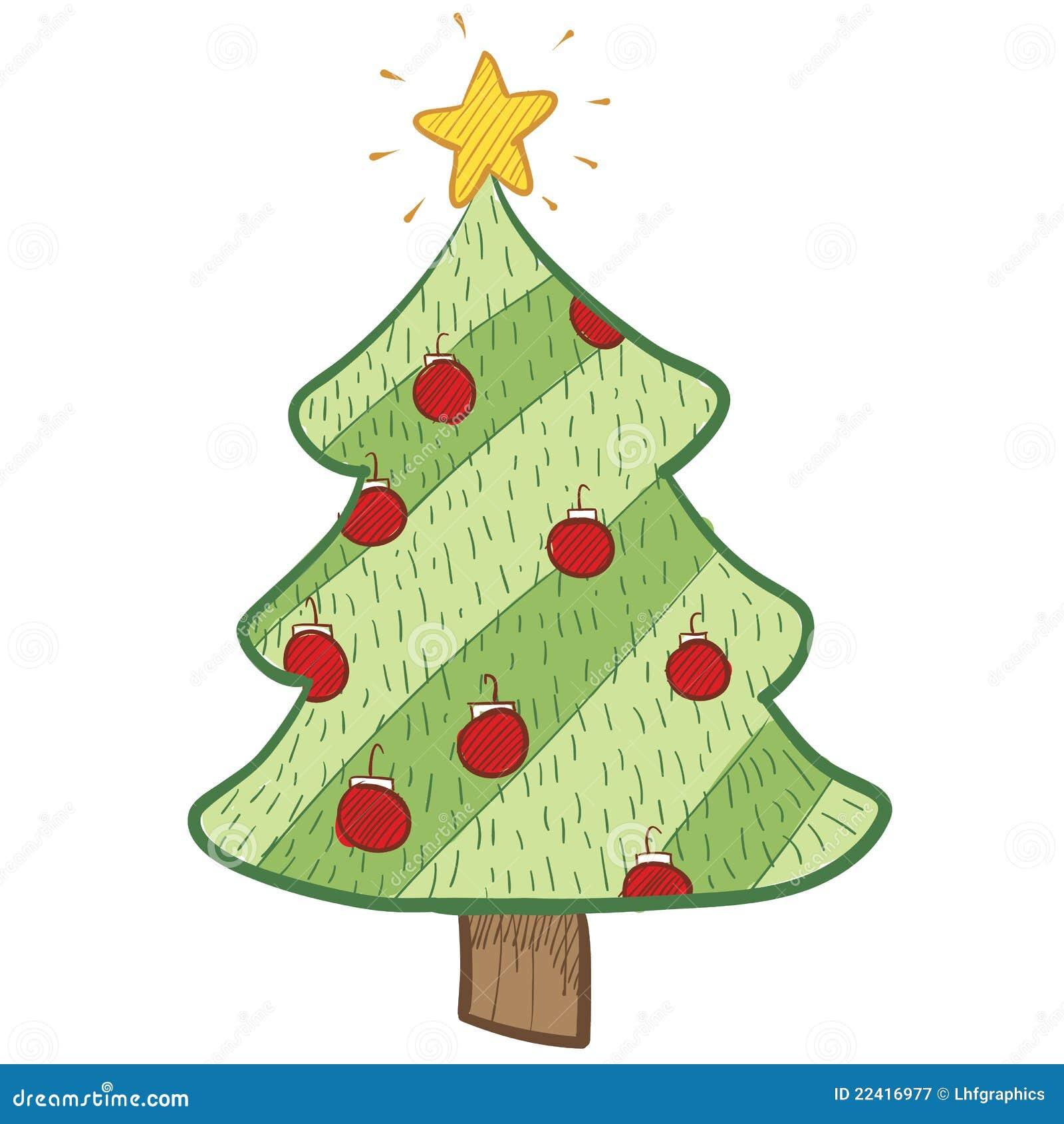 Desenho Colorido Da Arvore De Natal Ilustracao Do Vetor