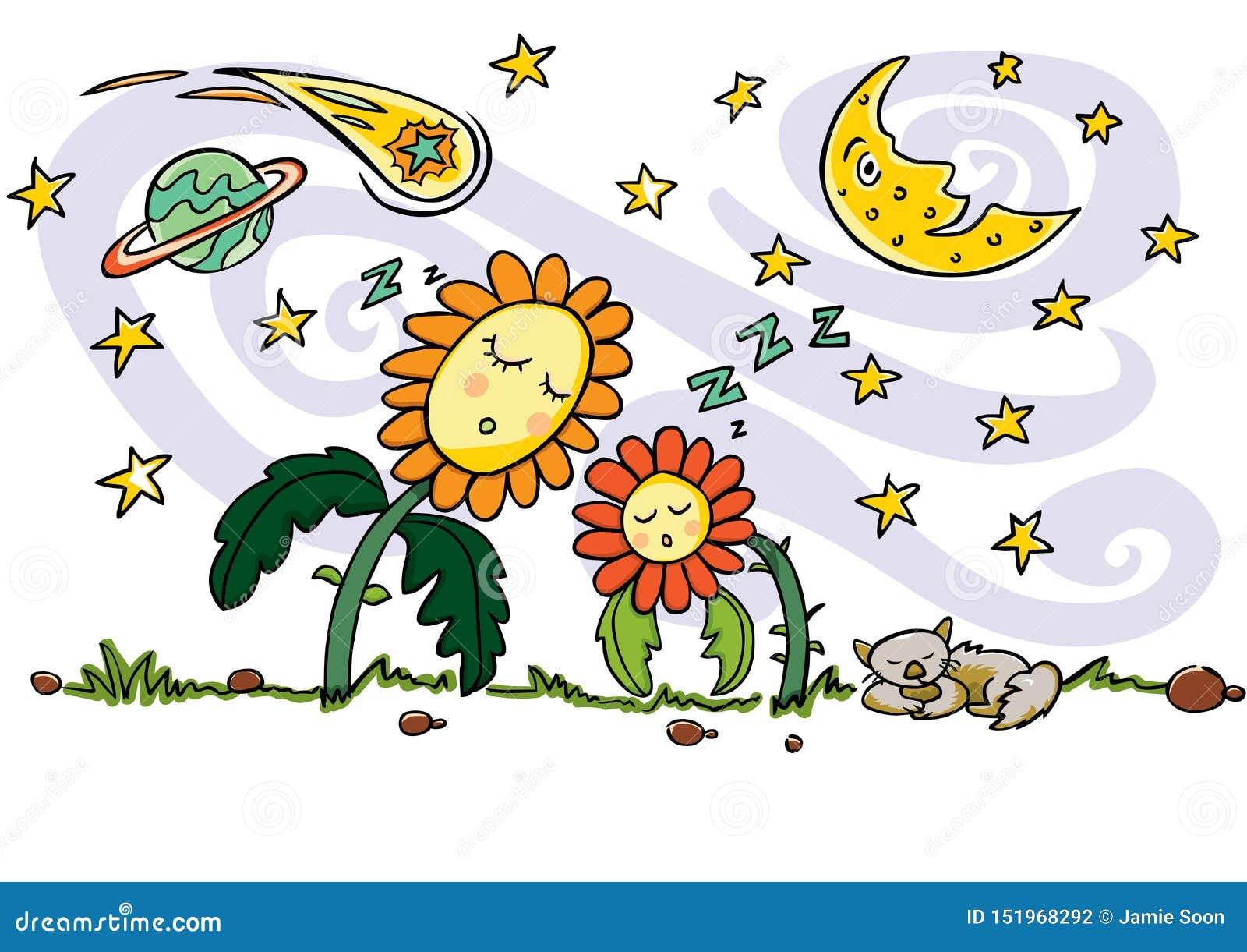 Desenho colorido do vetor Flores bonitos do sol do sono, gato, elementos crescentes das estrelas da lua, do planeta, do cometa e