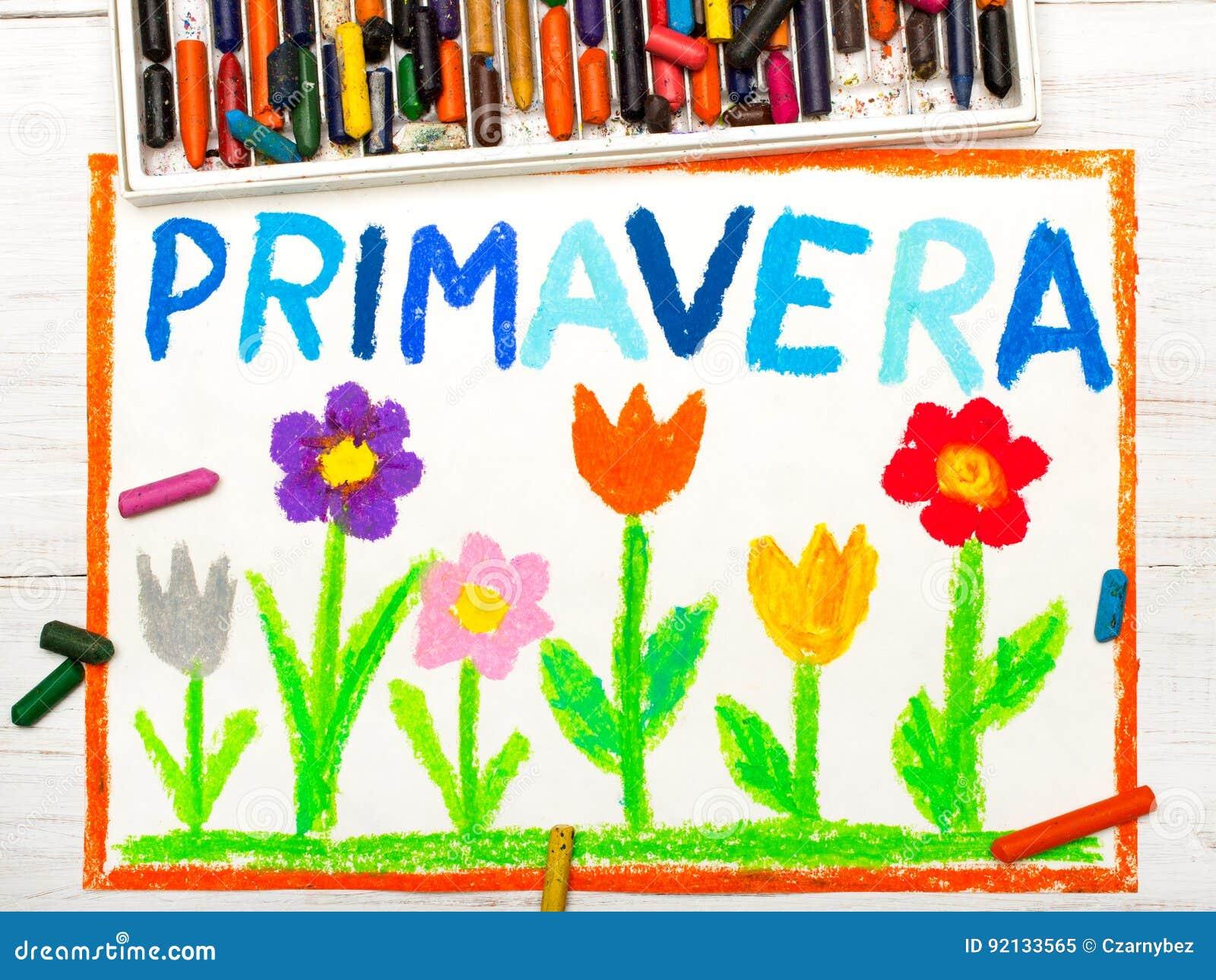 Preferência Desenho Colorido: Mola Da Palavra PRIMAVERA Ilustração Stock  QB36