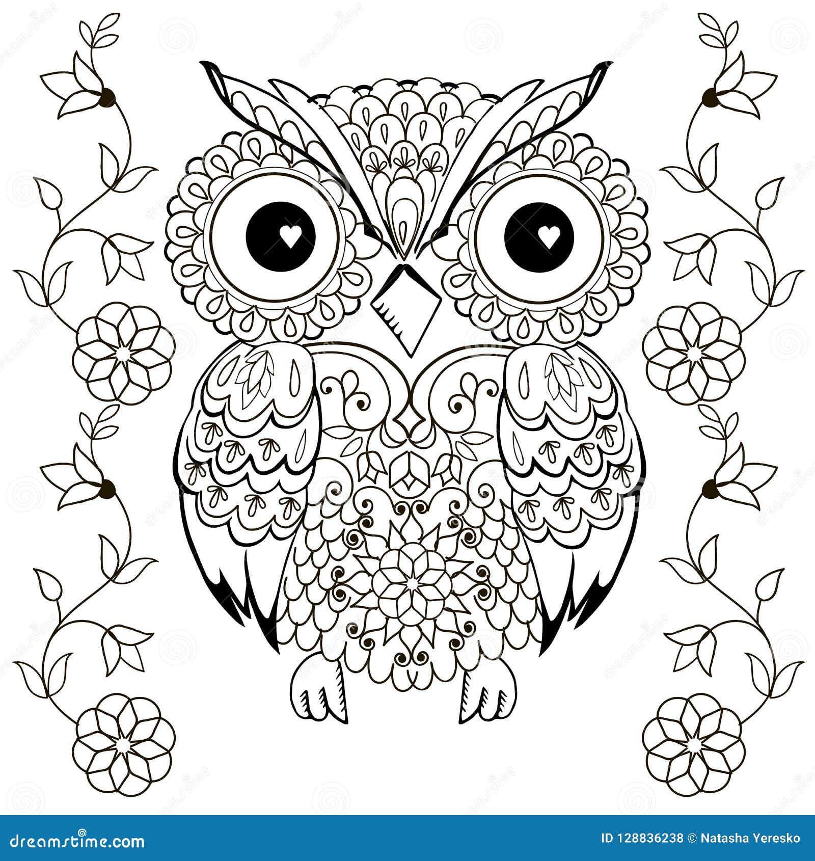 Desenho Da Coruja Para Colorir Antistress Ilustracao Do Vetor