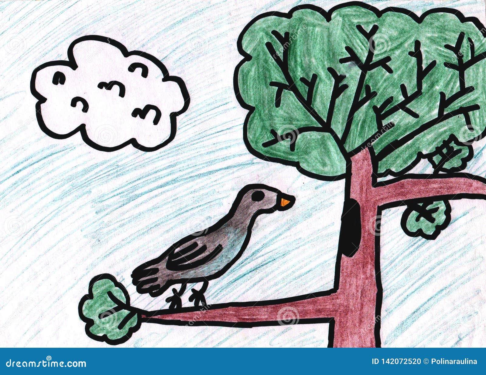 Desenho da criança s Desenho de lápis das crianças de um pássaro em uma árvore