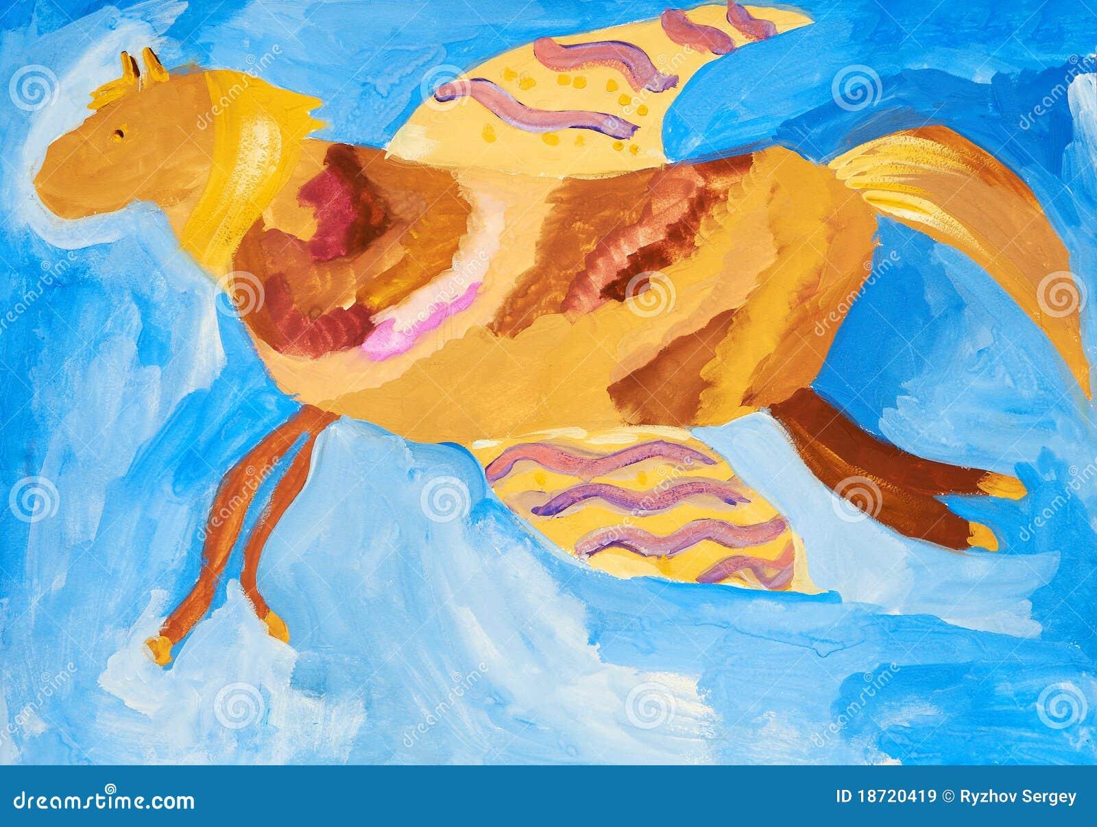 Desenho da criança um cavalo de vôo