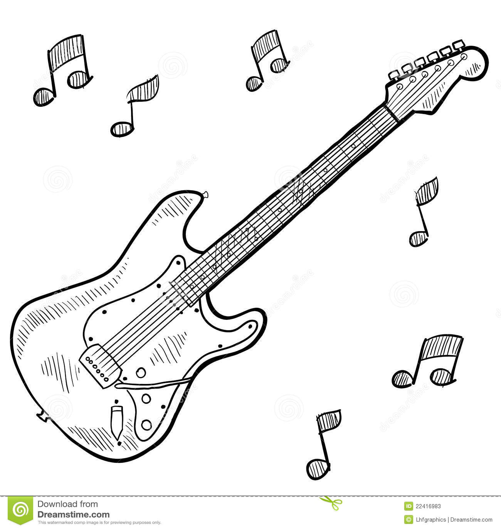 Desenho Da Guitarra Eletrica Ilustracao Do Vetor Ilustracao De