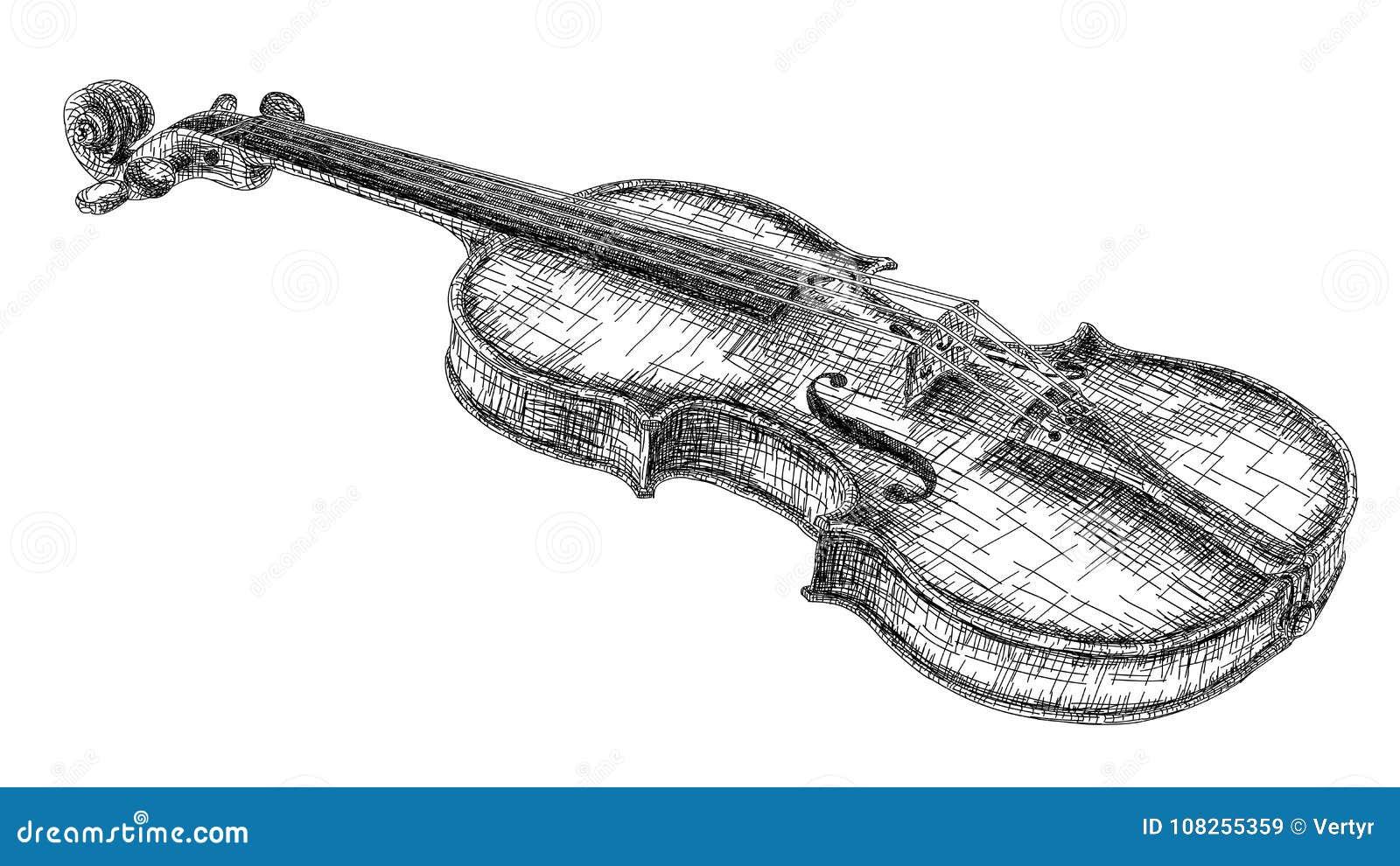 Desenho Da Ilustracao Do Vetor Do Violino Ilustracao Do Vetor