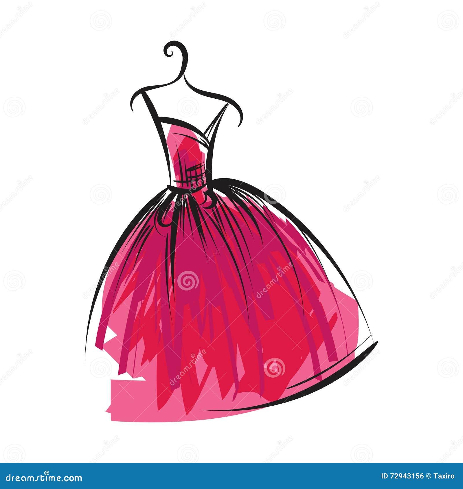 Desenho da mão do vestido de bola em um gancho