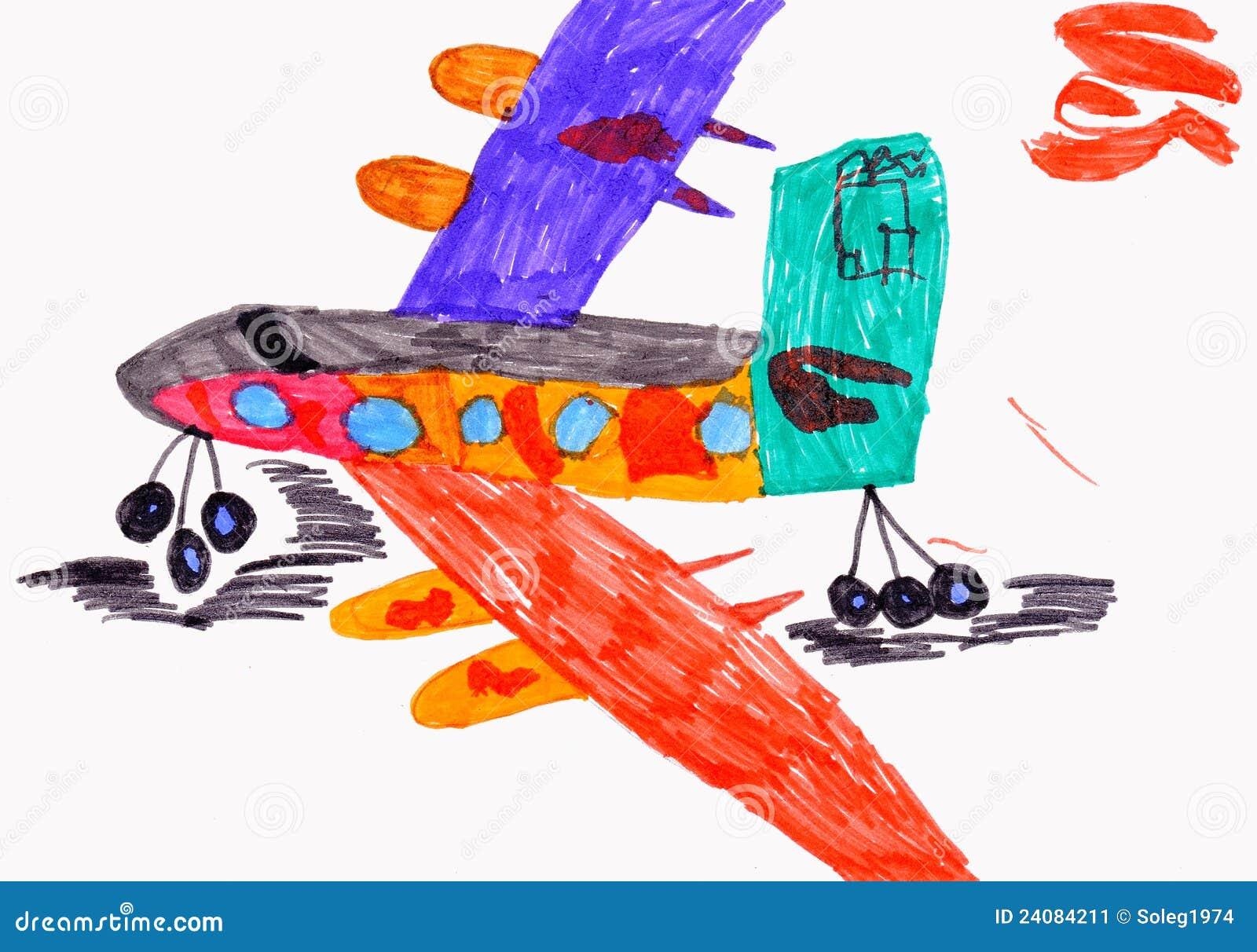 Desenho Das Criancas Aviao Ilustracao Stock Ilustracao De
