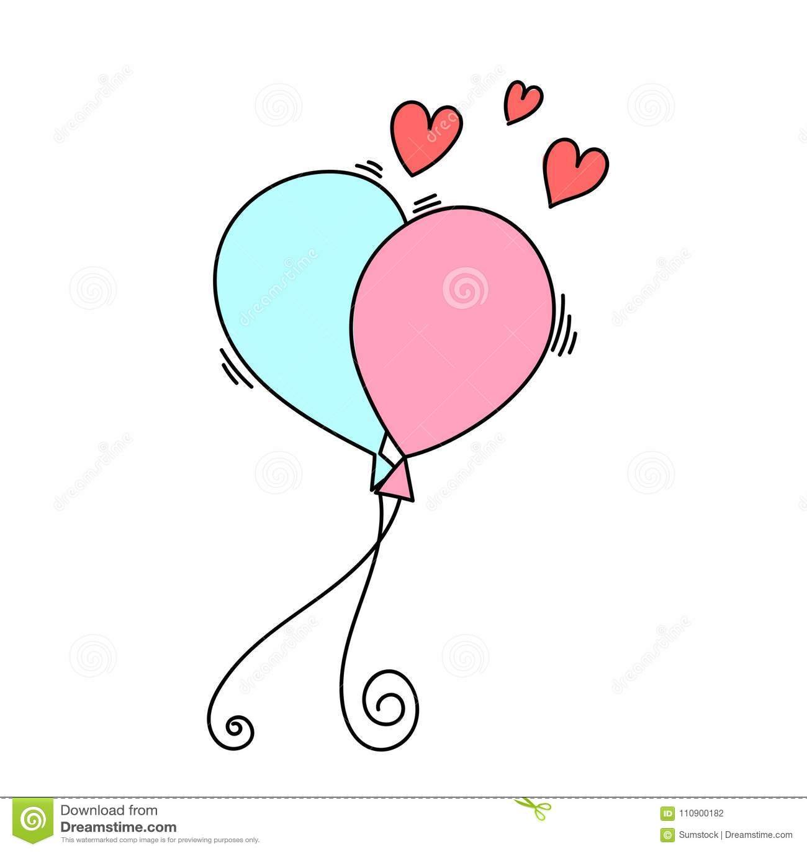 Desenho De Dois Balões Com Formas Do Coração Ilustração Do