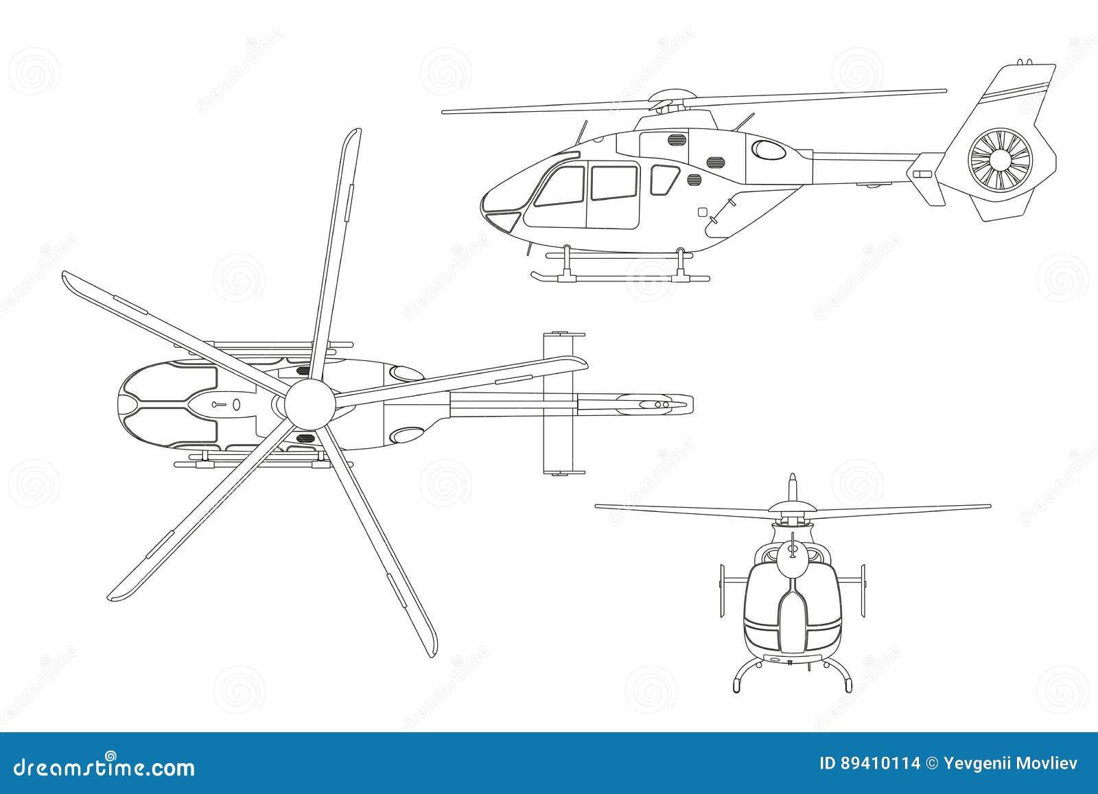 Desenho de esboço do helicóptero no fundo branco Parte superior, lado, vista dianteira Modelo técnico