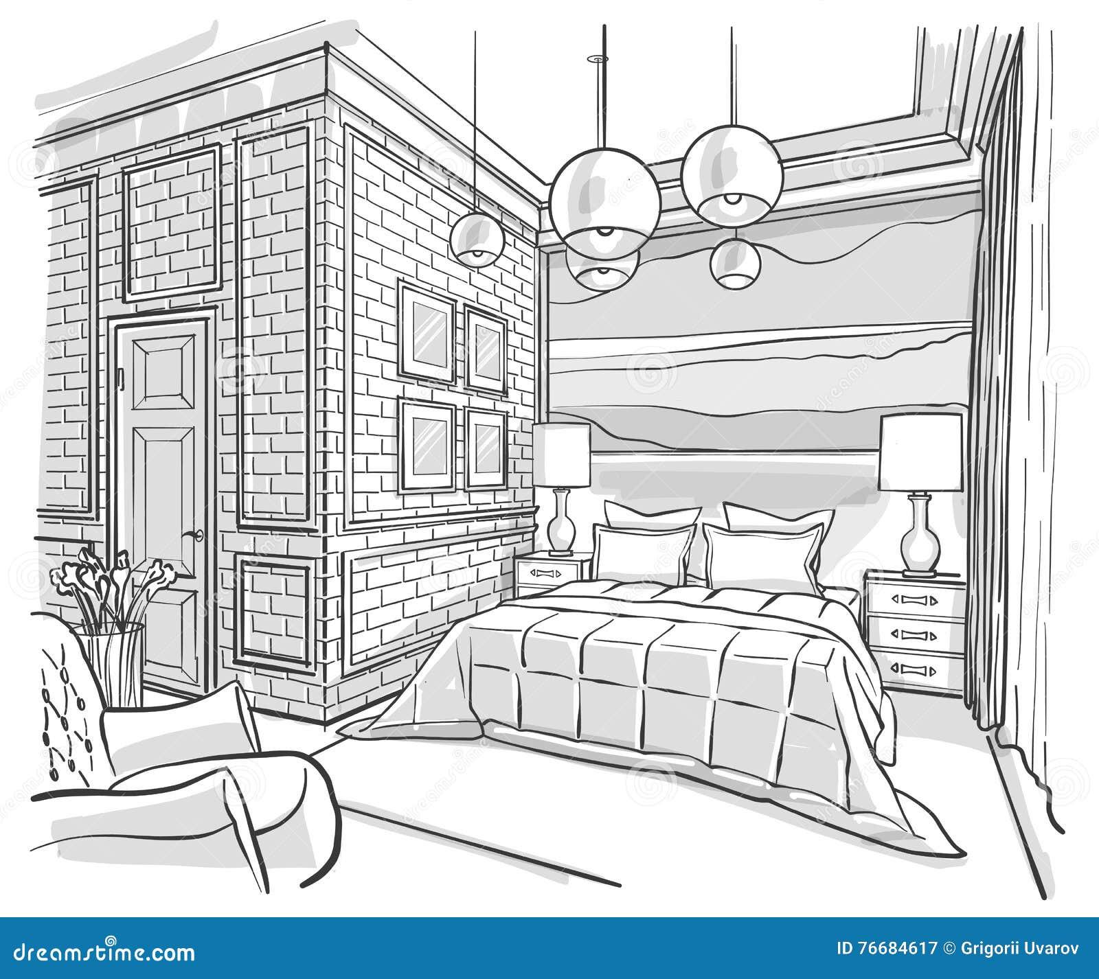 Desenho de esbo o interior do vetor do esbo o do quarto for Dessin dressing