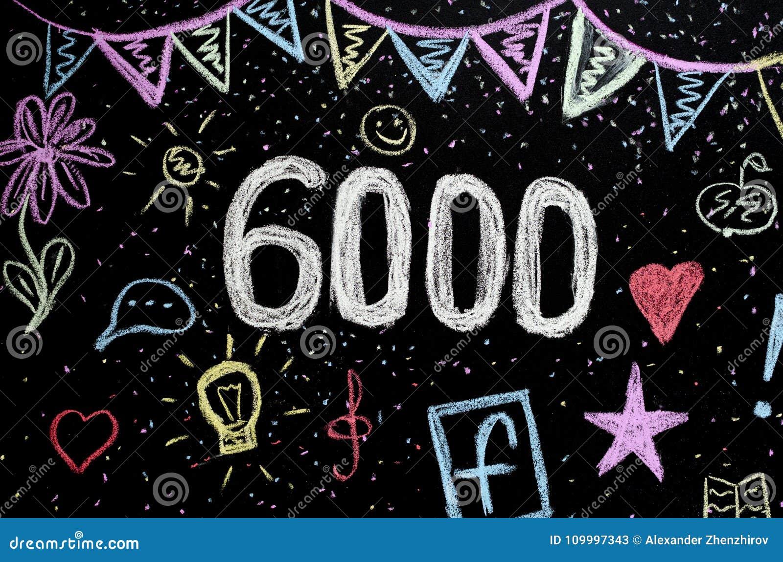 Desenho de giz 6 000 no quadro-negro