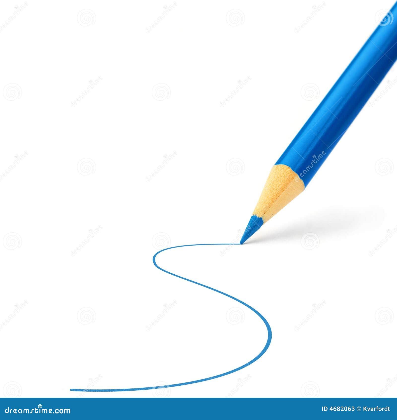 Desenho de lápis azul da cor uma linha