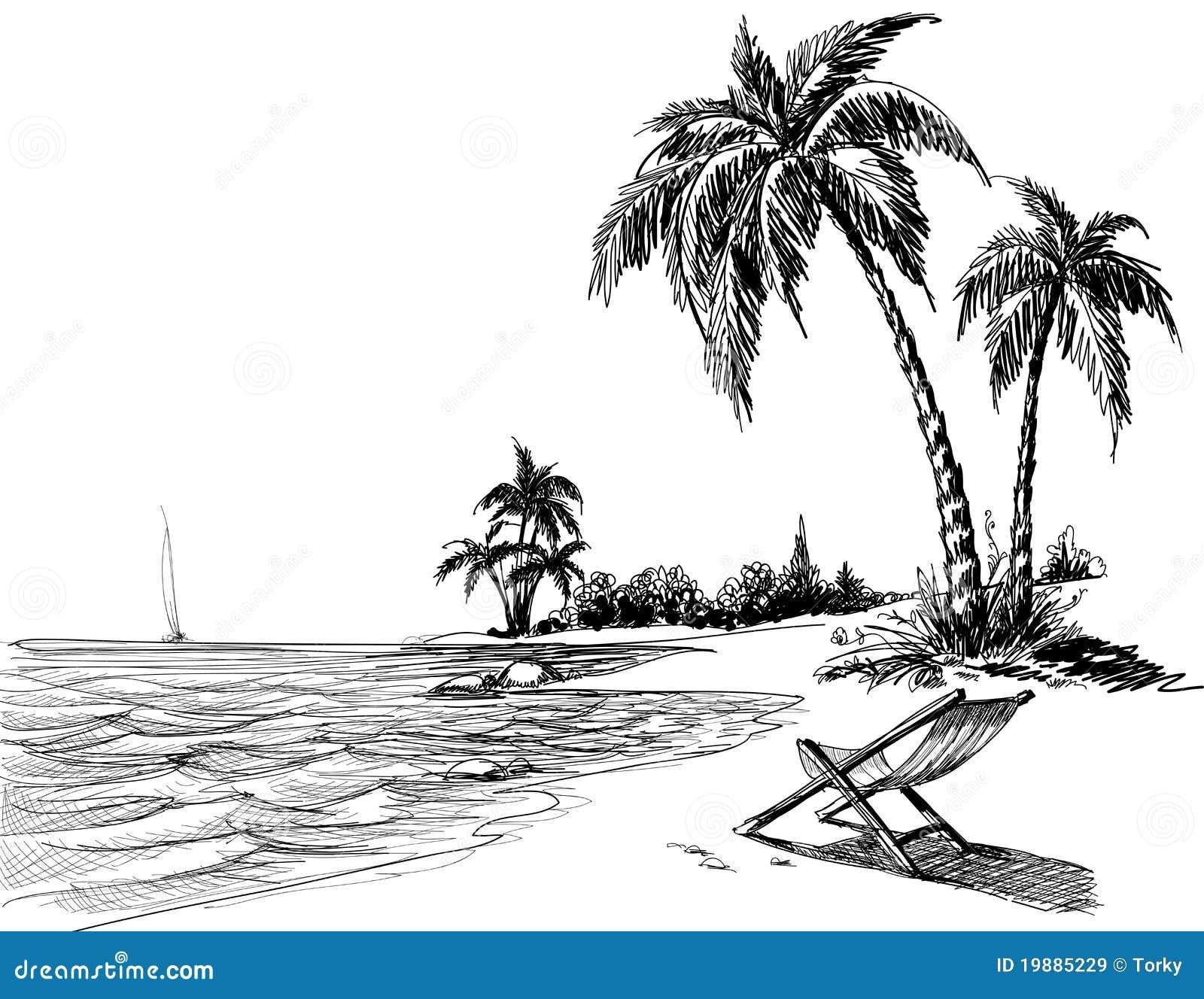 Desenho De Lápis Da Praia Do Verão Imagens de Stock Royalty Free Imagem