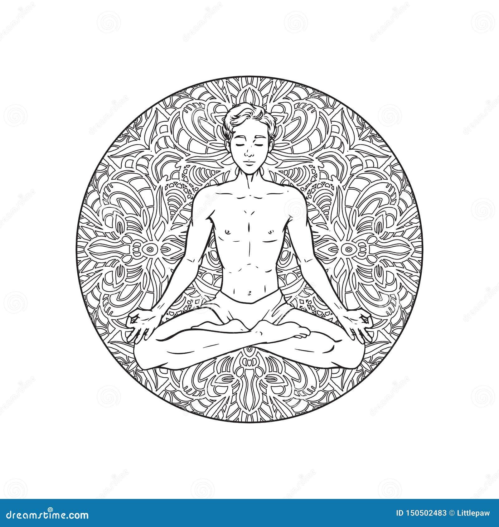 Desenho de meditar o iogue no fundo da mandala, homem relaxado na pose dos lótus, ilustração do vetor