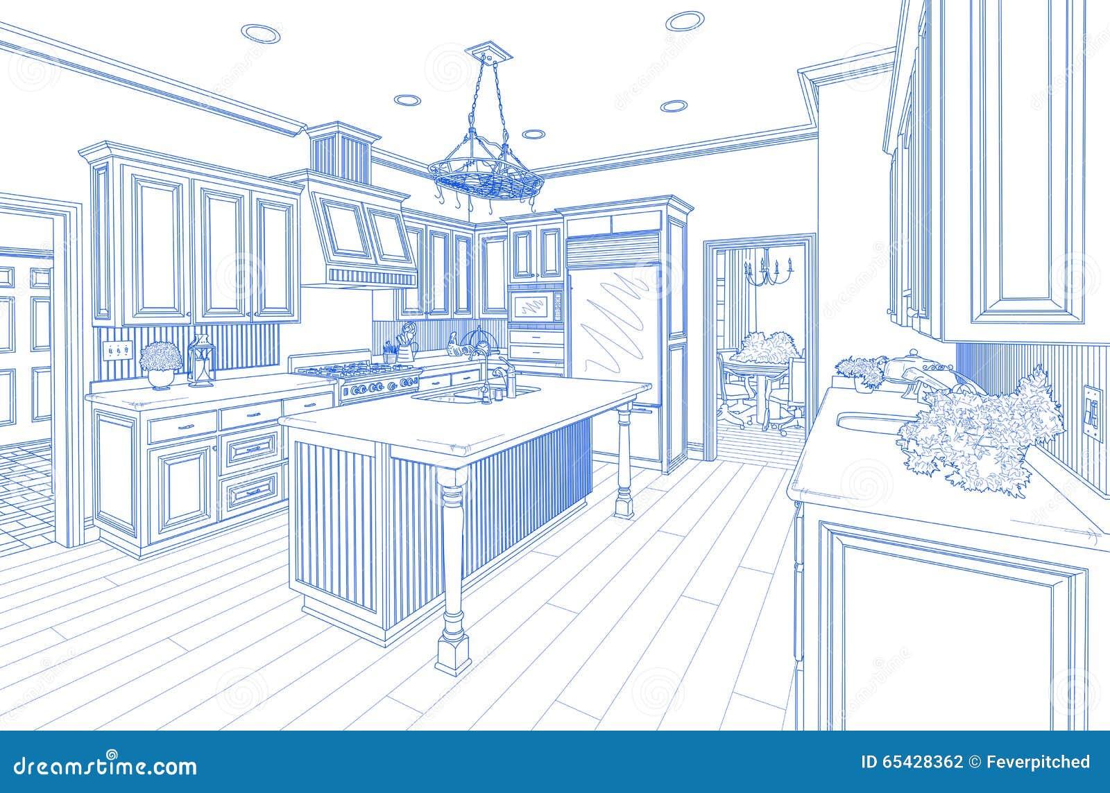 Desenho De Projeto Feito Sob Encomenda Azul Da Cozinha No Branco