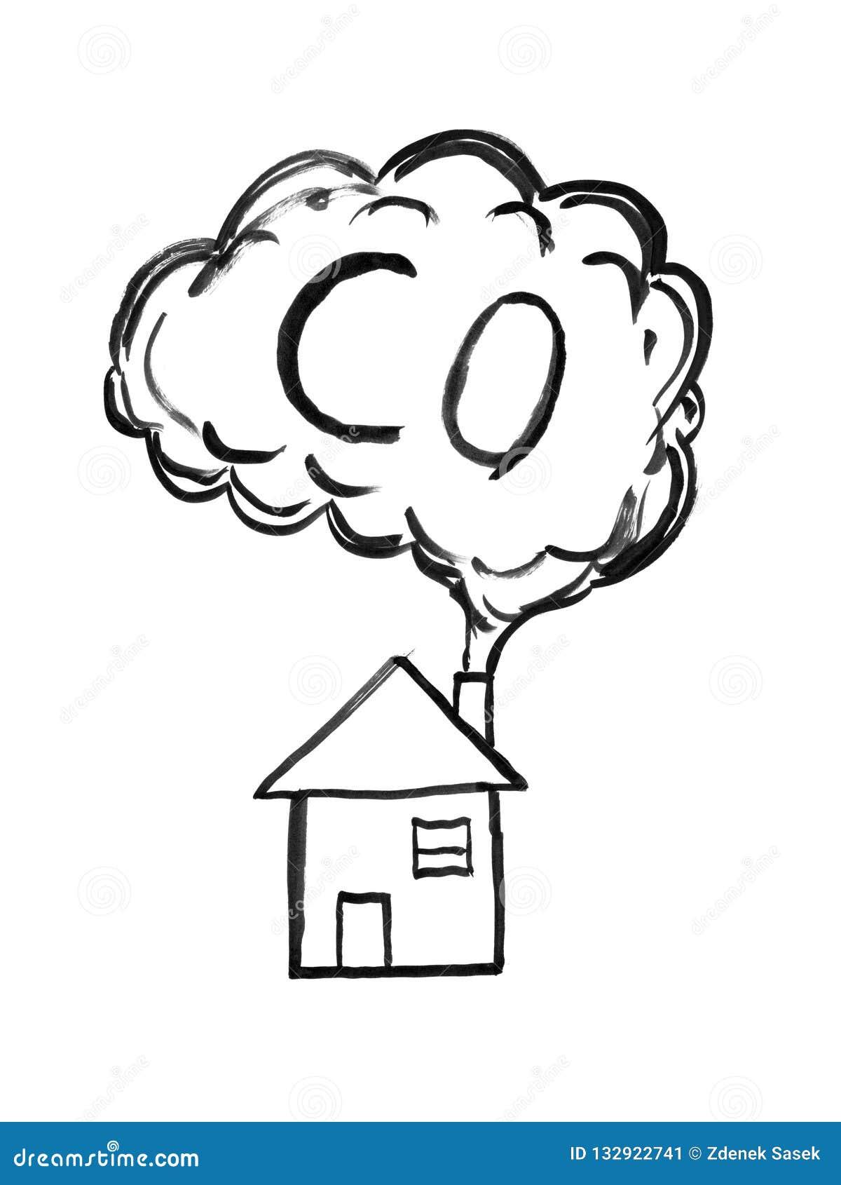 Desenho De Tinta Preta Da Mao Do Fumo Que Vem Da Chamine Da Casa