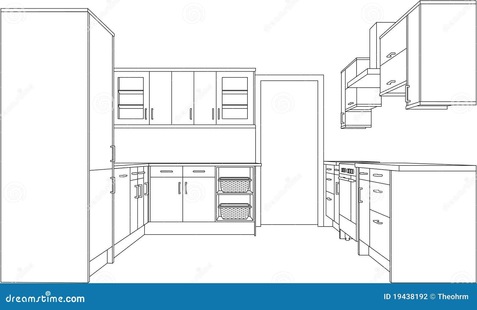 lápis desenho da perspectiva do ponto de uma cozinha cabida #85A922 1300 862