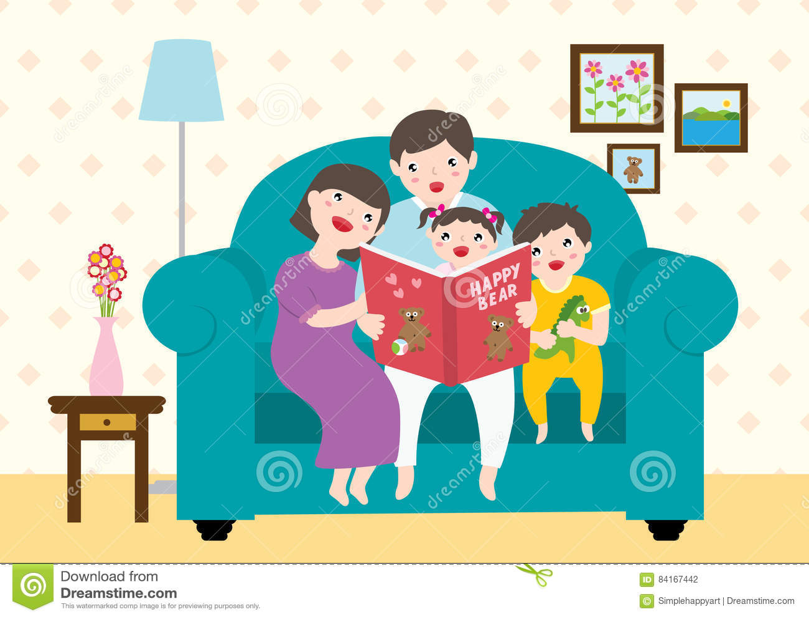 desenho de uma família feliz que aprecia lendo livros de histórias