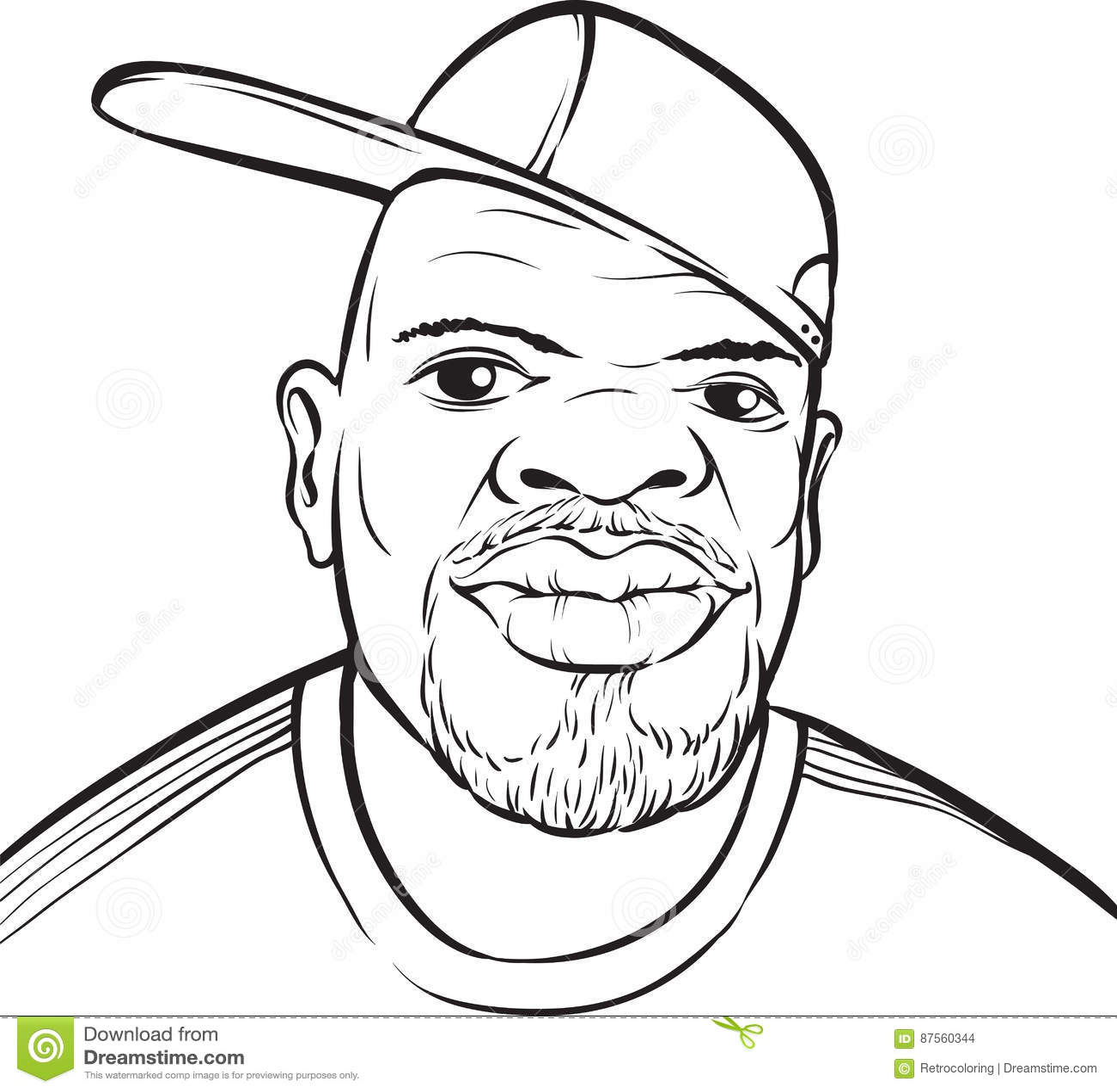 Desenho De Whiteboard Homem Negro Com Bone De Beisebol