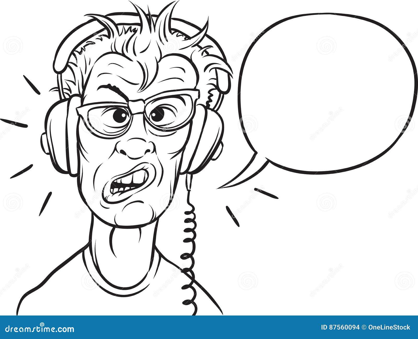 Desenho De Whiteboard Lerdo Com Fones De Ouvido Ilustracao Do