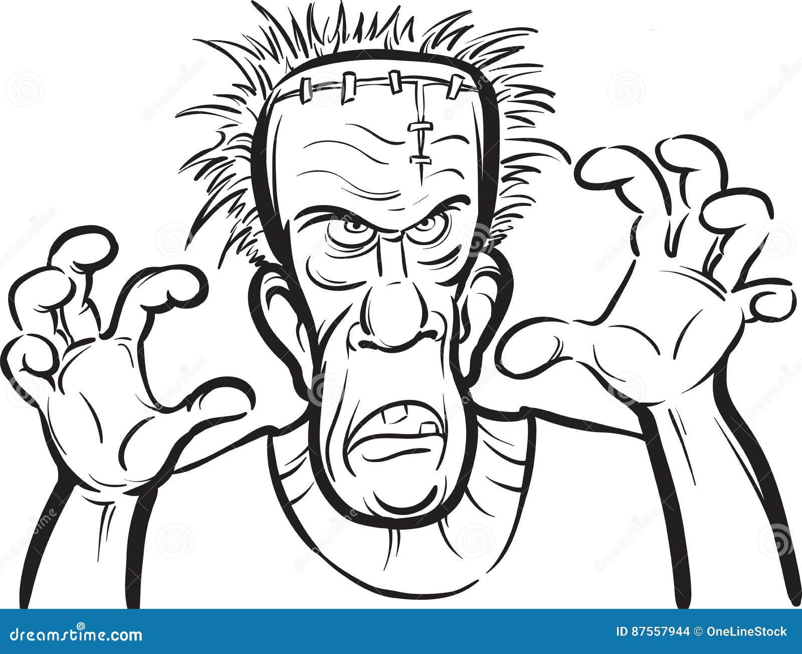 Desenho De Whiteboard Personagem De Banda Desenhada Assustador