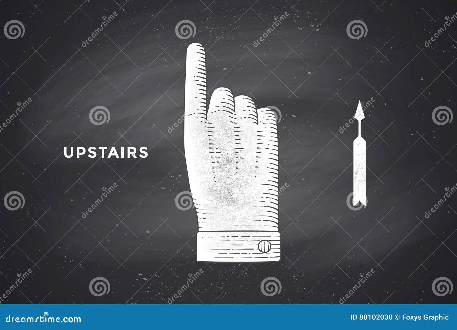 Desenho do sinal da mão com polegares acima no estilo da gravura