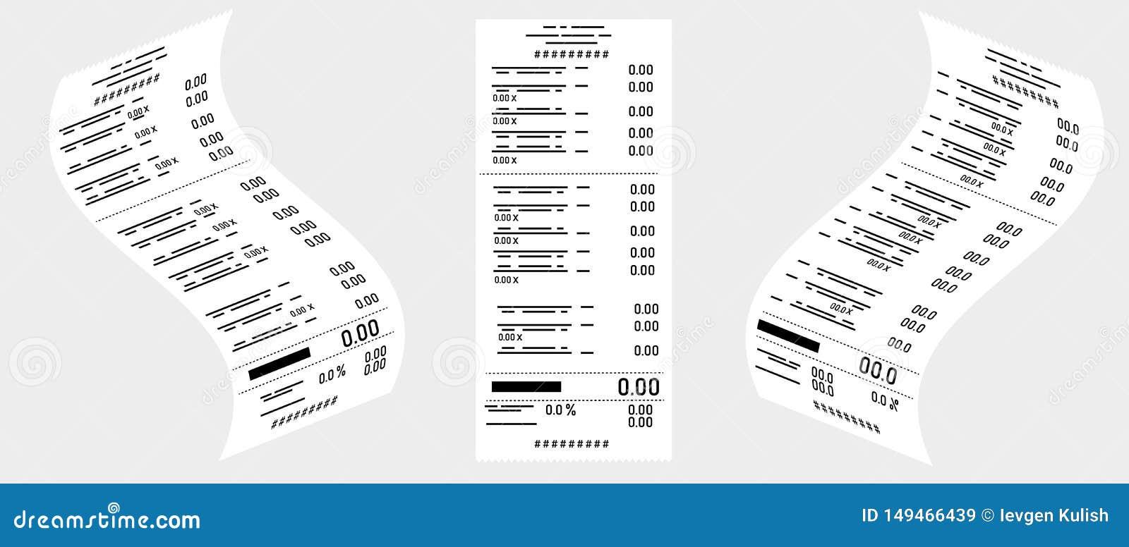 Desenho do vetor Ajuste das verificações de caixa em um fundo cinzento Negócio, comércio eletrônico