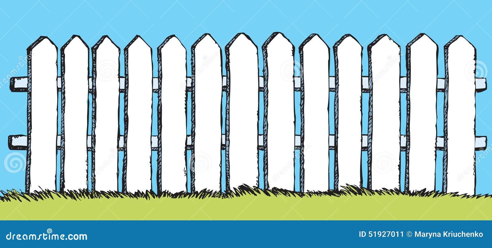 cerca para jardim branca : cerca para jardim branca:Desenho Do Vetor Cerca Branca Com Placas Ilustração do Vetor