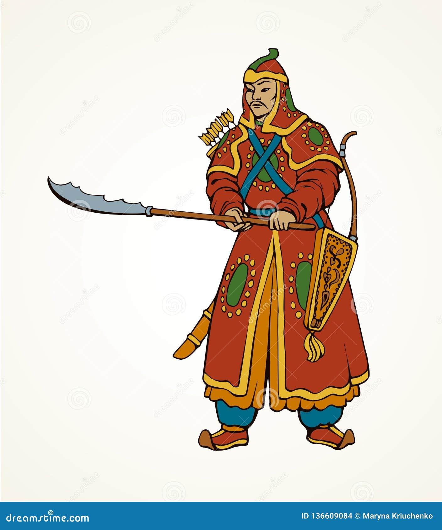 Desenho Do Vetor Do Guerreiro Chines Ilustracao Do Vetor