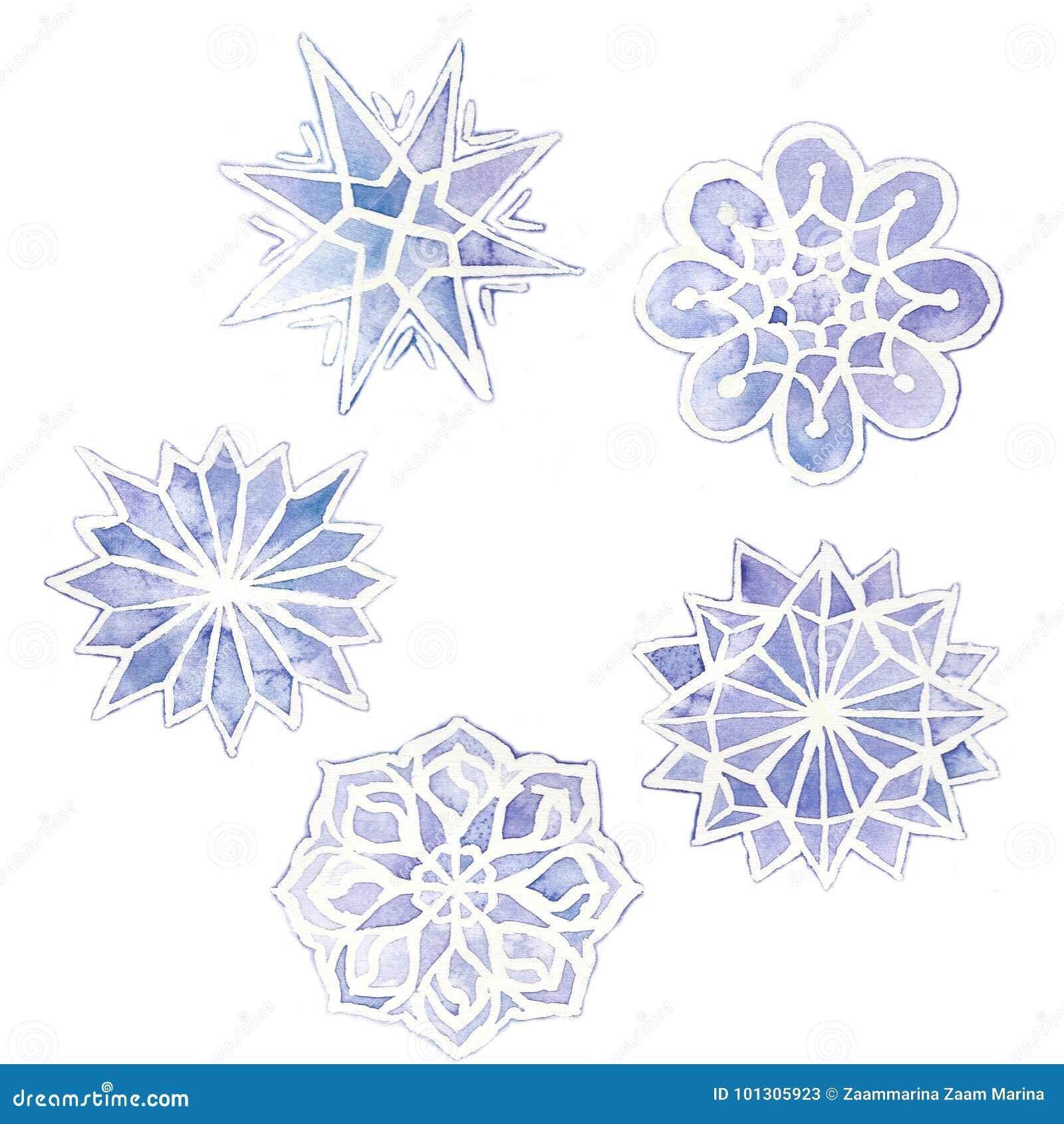 Desenho Dos Flocos De Neve Grupo Da Aquarela De 6 Flocos De Neve