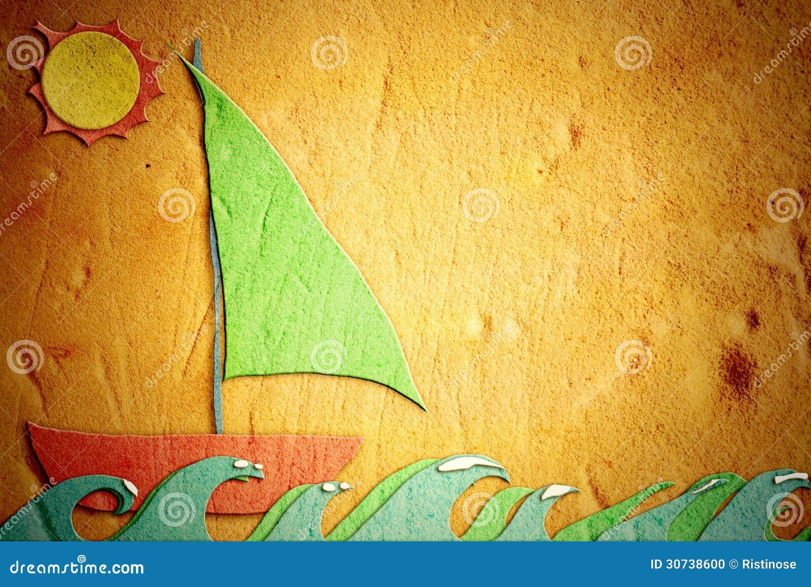 Desenho Infantil Da Areia Barco De Navigacao Do Feriado Foto De