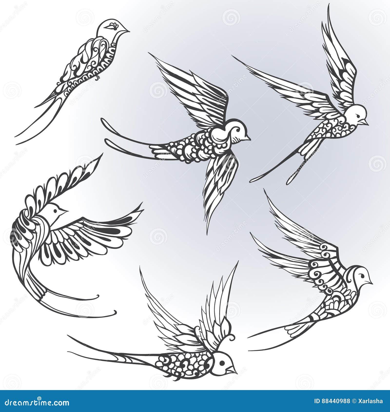 Desenho A Mao Livre De Ilustracoes Dos Passaros Andorinhas