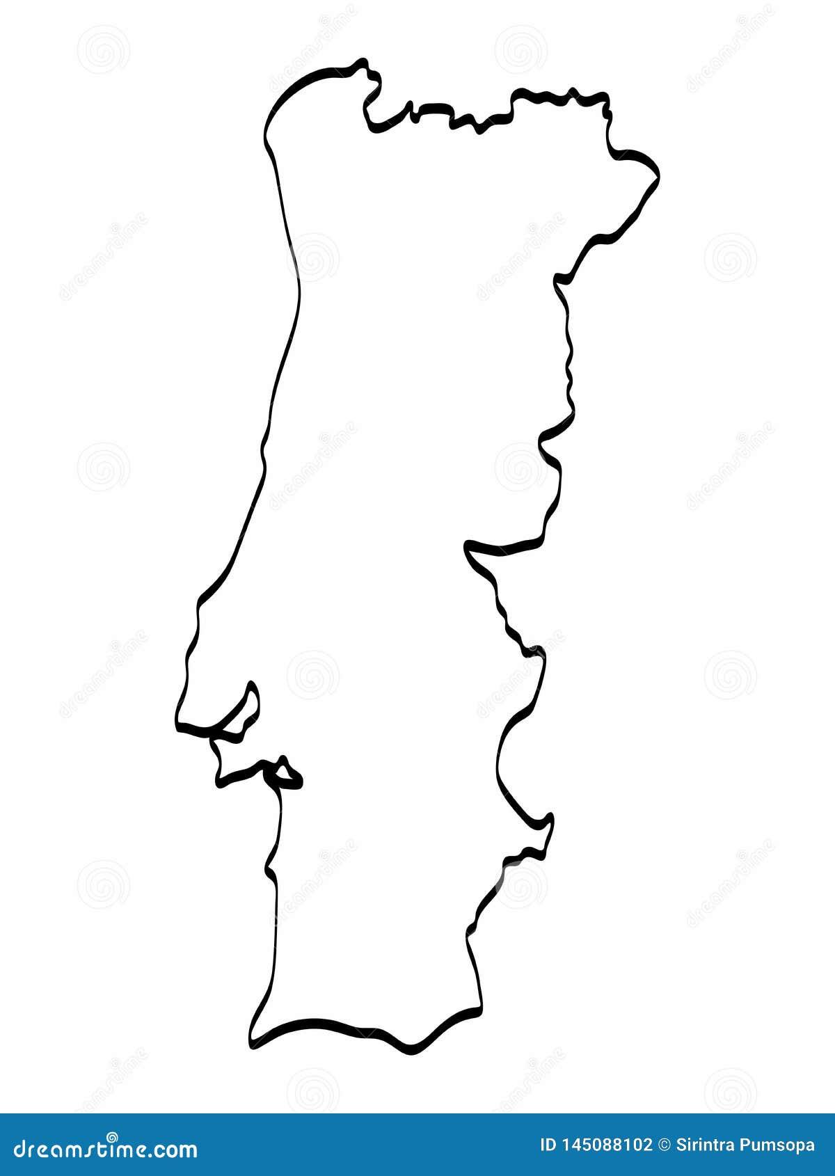 Desenho A M O Livre Gr Fico Do Esbo O Do Mapa De Portugal No Fundo
