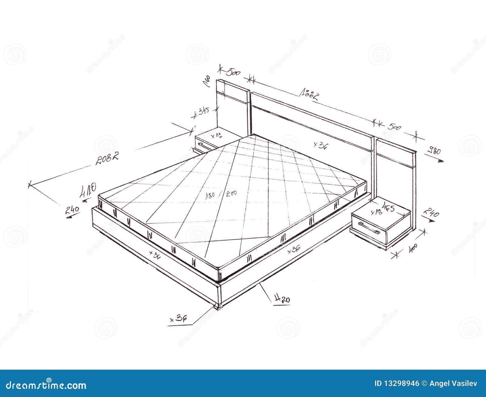 Desenho Moderno Da Carta Branca Da Cama Do Projeto ...