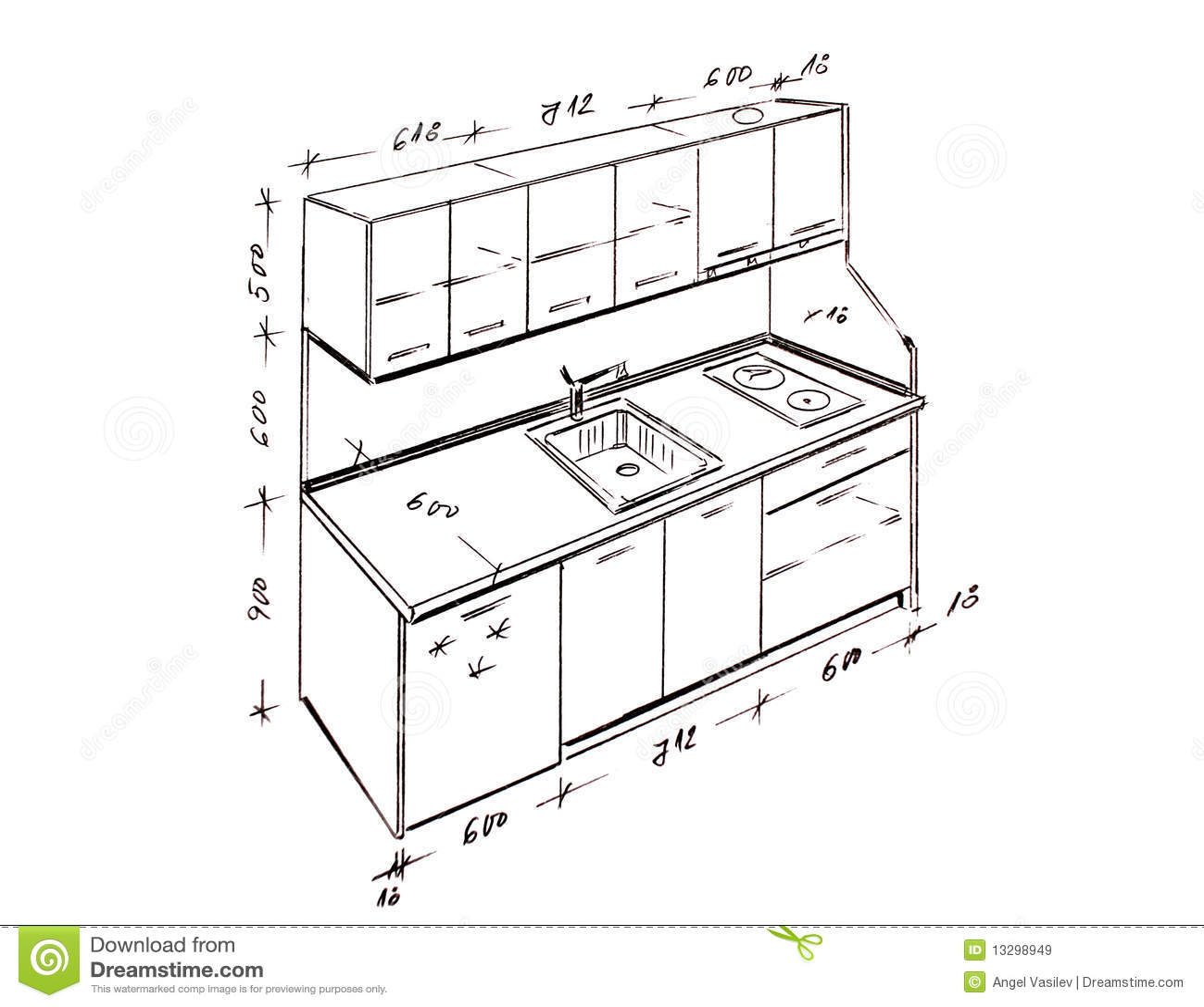 Standard Sizes For Kitchen Cabinets Desenho Moderno Da Carta Branca Da Cozinha Do Projeto