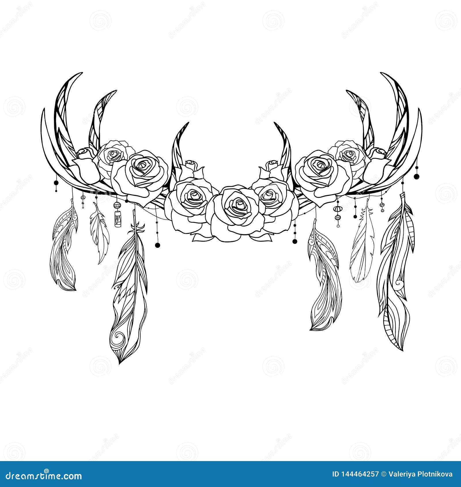Desenho Nativo Do Esbo O Dos Chifres Dos Cervos Com Penas E Rosas
