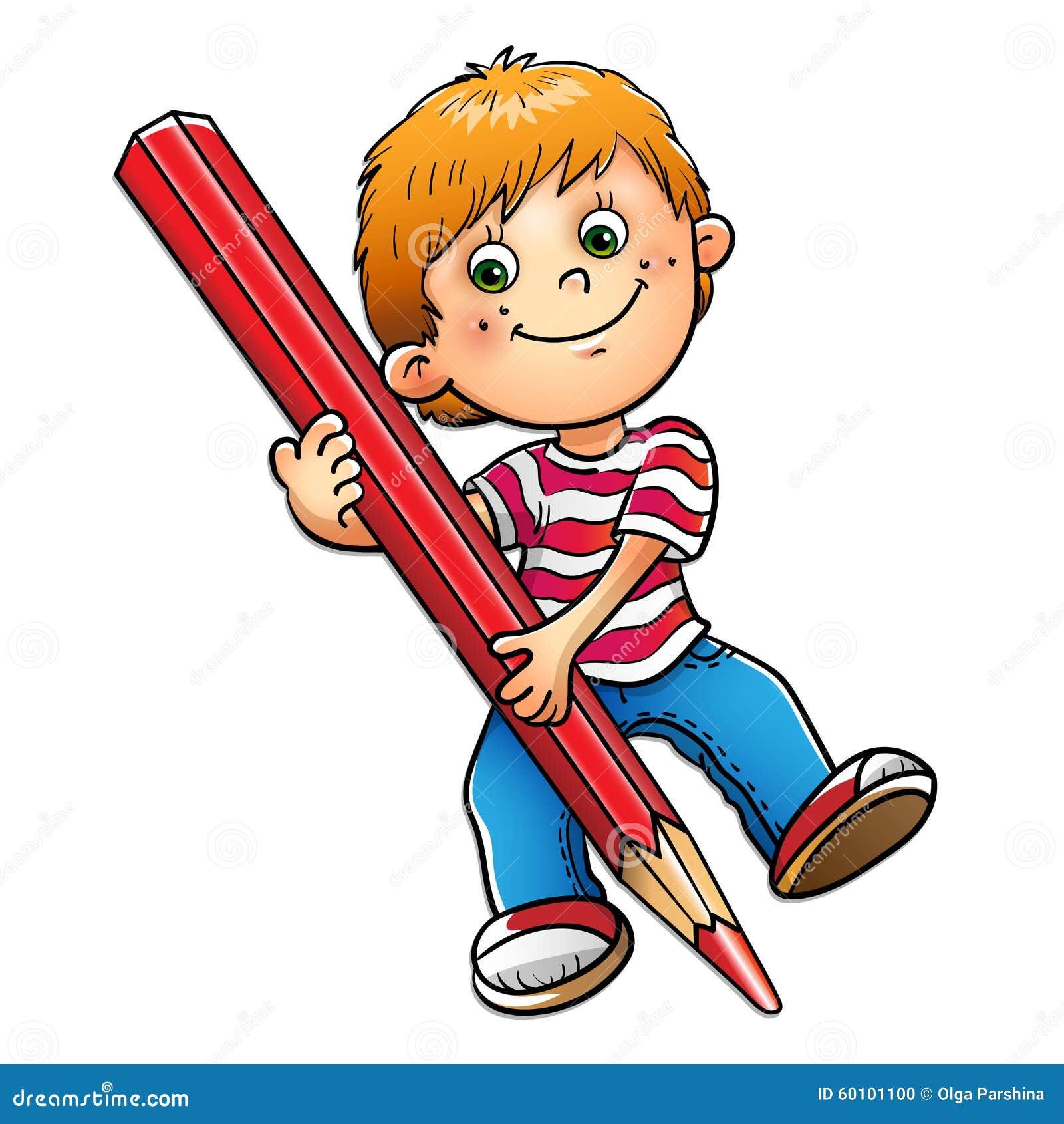 Desenho novo do menino com o l pis vermelho isolado no - Dessin bonhomme assis ...