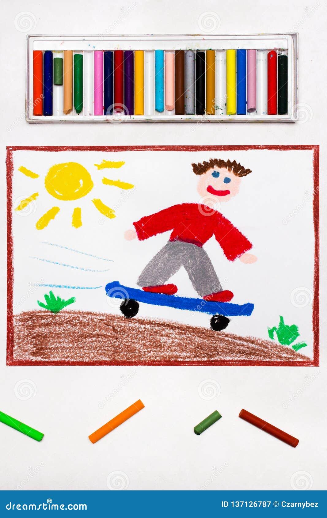 Desenho: O menino monta o parque do patim do anúncio do skate