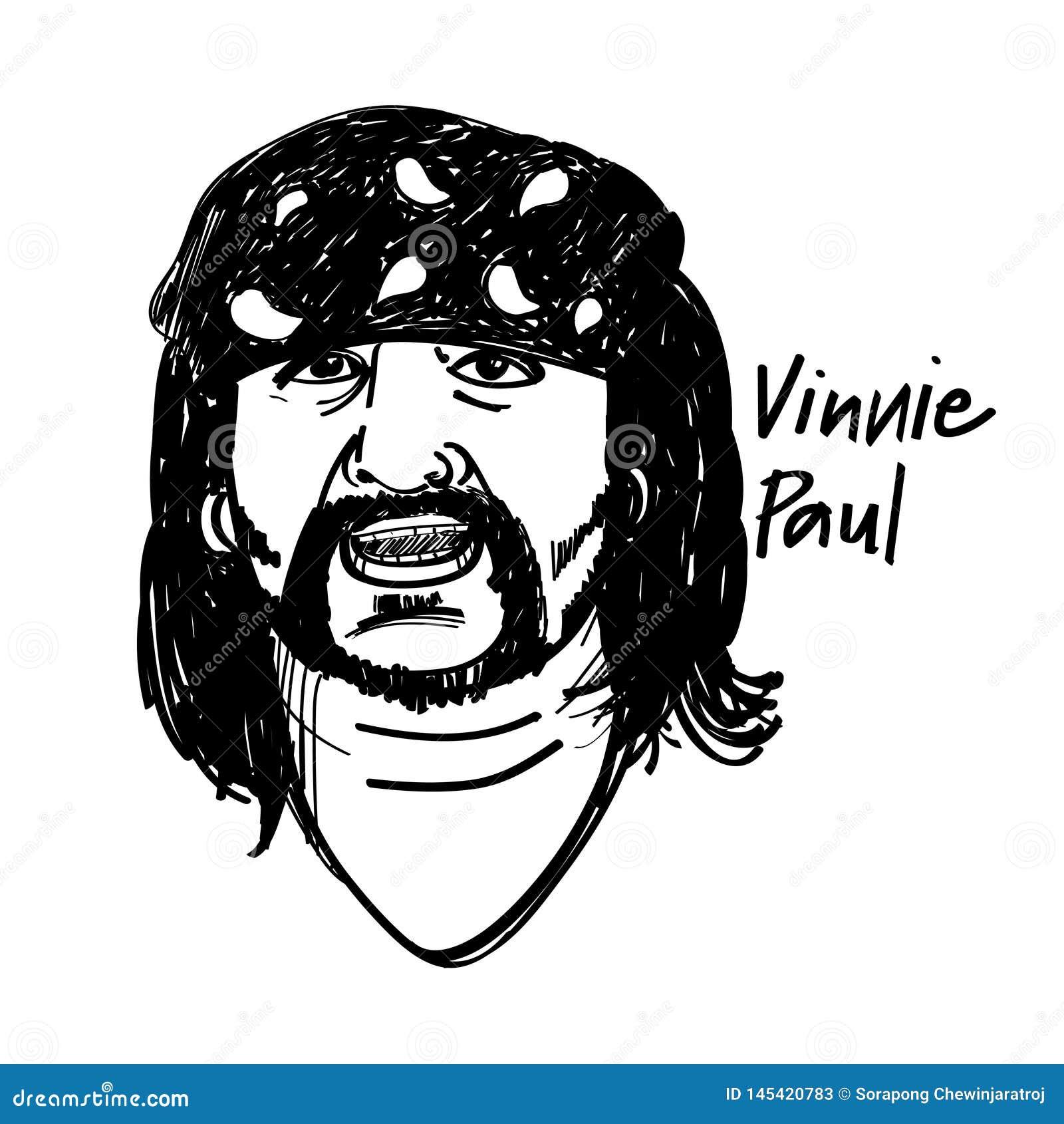 Desenho preto e branco da ilustração do baterista de Vinnie Paul
