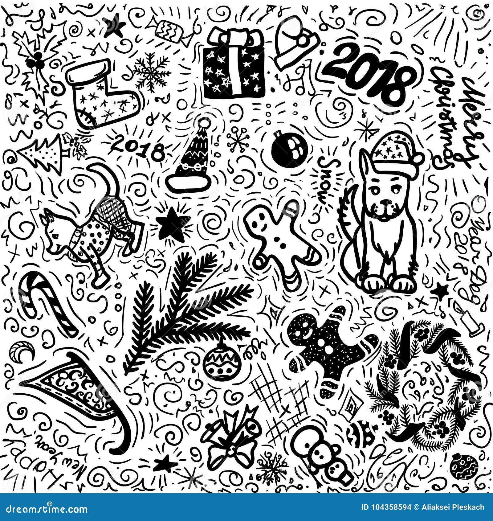 Desenho Preto E Branco Da Mao Do Natal Simples Grupo Da Ilustracao